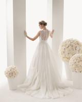 Wholesale 2014 Designer Bateau Chiffon Floor length A Line Covered Button Wedding Dress Bridal Dress