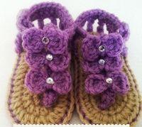 1pair crochet baby first walk shoes double sole infant sanda...