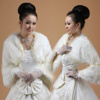 Wholesale Elegant In Stock Bridal Jacket Bolero Faux Fur Fabric Lace Edge Trim Trumpet Long Sleeves White Color Stole Shawl Tippet Shrug Cape Classy