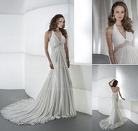 Wholesale 2014 Sexy Beach Wedding Dresses A Line Halter V Neck Empire Summer Chiffon Dresses Pleated Beaded Sash Floor Length Bridal Gown DR178