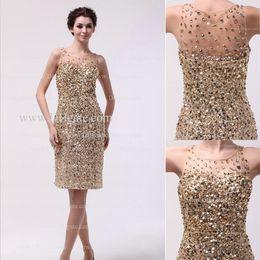 Wholesale 2013 New homecoming Dresses Sheath Crew Neckline Sequins Beaded Short Length Evening Dresses Real Image