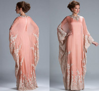 Wholesale Peach Coral long sleeves jewel neckline kaftan dubai Dress Chiffon Lace Long Sleeves Lace fitted Muslim Mother of the Bride Dresses JQ3309