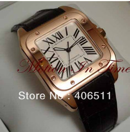 wholesale- Men's Luxury Dress Styles 100 Medium 18kt Rose Gold Chocolate Strap Automatic Limited Edition watches