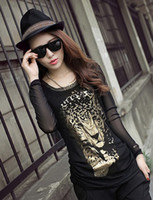 Wholesale New Arrival Autumn Women s Blouses Black Gauze O Neck Leopard Pattern Slim Skinny Ladies Blouses Sexy LQY9