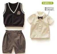 Summer Short Sleeve Cotton Blends 2013 summer Baby Boy 3 pieces Suits Vest+Plaid T-Shirt+Shorts Cute Kids Clothes Sets