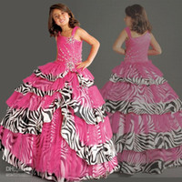 Wholesale Best selling Fuchsia Organza Zebra Stripes Printed Beaded Ball Gown Girls Formal Occasion Flower Girl Dresses Girls Pageant Dresses F192
