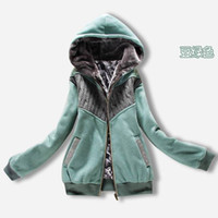 Long Sleeve Women Cotton 2014 High quality HOT New Fashion Korea Style Women's Sherpa thick wool stitching hooded zip cardigan Hoodies & Sweatshirt #D9