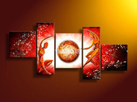 Wholesale 5 Panel Wall Art People Love Story Red Oil Painting On Canvas Modern Decorative Decorative Interior Paneling Artwork picture