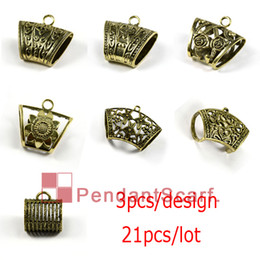 Wholesale 21PCS Hot Fashion Designs Mixed DIY Jewellery Scarf Pendant Antique Bronze Plated Mental Alloy Slide Bails Tube ACMIX