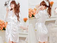 Lin Tai satin robe - Women Sexy Satin Lingerie Chiffon Sleepwear Nightdress Robes Lace G string Gown White