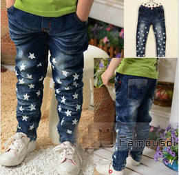Wholesale New Arrival Kids Jeans2013 Autumn New Arrival Fashion Cute Korean Style Years Kids Five pointed Star Printing Jeans