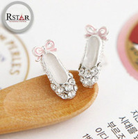 Wholesale Lovely Ballet Shoes with Diamond Stud Earrings Rhinestone Stud Earring Charm Girl Gift pairs Cheap Fashion Jewelry F ES007