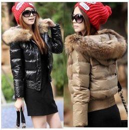 Winter Coat Down Jacket Women 90%White Duck Down zipper really Raccoon Fur Collar With Hat Black Khaki Jacket