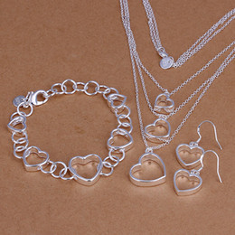 Wholesale - lowest price Christmas gift 925 Sterling Silver Fashion Necklace+Earrings set QS100