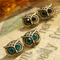 Wholesale Europen Vintage Brone Metal Lovely Owl Earrings Blue Coffee Rhinestone Owl Ear Stud Earring pairs Cheap Fashion Jewelry F ES018