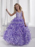 Wholesale Tiffany Princess New Ball Gown Spaghetti rhinestone beading Floor Length Flower Girl Pageant Dresses