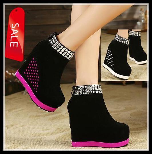Newest Stylish fashion Black Pink White rhinestone increase height