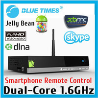 Wholesale HI SPEED MX5 Dual Core Android Smart TV Box XBMC Media Player Center Smartphone Remote Control AMLogic M6