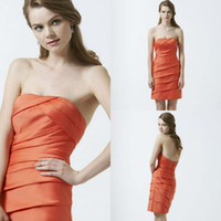 Model Pictures Lace Appliques BS154 New arrival orange satin ruffled tight skirt short bridesmaid dress