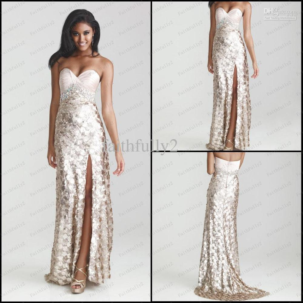 2014 Sweetheart Champagne Prom Dress Sequins Lace Colorful Beads ...