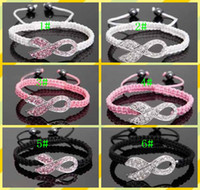 South American Unisex Anniversary Hot Sales Pink Rhinestone Crystal Ribbon Charms Breast Cancer Awareness Macrame Adjustable Bracelets Finding