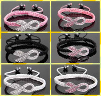 South American Unisex Anniversary Pink Rhinestone Crystal Ribbon Charms Breast Cancer Awareness Macrame Adjustable Bracelets colors to choose from