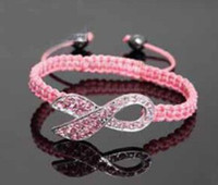 Wholesale Mixed Color White amp Pink Crystal Pink Ribbon Breast Cancer Awareness Bracelet Gift