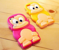 Wholesale Fashion D cartoon Animal Gorilla Monkey Baboon Rubber soft silicone Cell Phones Case cover For iphone S sky red color