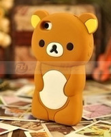 Wholesale Christmas Gift Cute Lovely Cartoon D bear lazy bear relaxed bear Soft Silicone Skin Cover cell phones Case for iPhone4S pink color