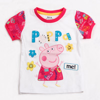 Round Neck Girl Summer Peppa Pig 5pcs cute Peppa Pig Girl Kids Short Sleeve Striped Embroidery Top T shirt Tees retail