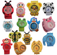 Fashion slap - 50pcs Cute Cartoon Style Mix Order Children Kids Teens Silicone Wristwatch Spiderman Minions Batman Car Birds Bear Children Slap Watch Gift