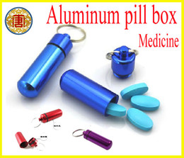 Wholesale High quality Keychain Aluminum Pill Box WaterProof Aluminum Drug Case Bottle Holder Container