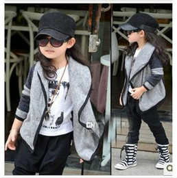 Wholesale Girls Crochet Cardigan Baby girl Gray Crochet Jacket Big Lapel coat outwear girls outwear jacket cardigan clothing