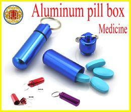 Wholesale Aluminum Pill Box Case Bottle Cache Drug Holder Keychain Container Waterproof