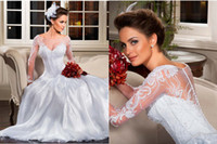 Wholesale New Long Sleeved A Line Wedding Dress with V Neckline Applique Floor Length Wedding Gowns LT08