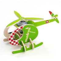 Wholesale Green Assemble Plane Model Custom Jigsaw Puzzles Wooden Children Toys and Gifts PT001
