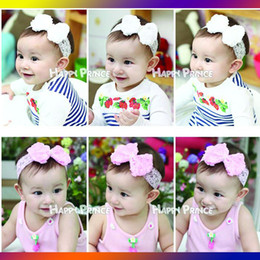 Hottest Baby Headbands Girl Lace Chiffon Flower hairbands Children Hair Accessories Bowknot Flower Hair Ornaments Headbands Pearl On Center
