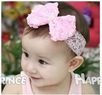 Headbands Lace Floral New Baby Headbands Girl Lace Chiffon Flower hairbands Children Hair Accessories Bowknot Flower Hair Ornaments Headbands With Pearl On Center