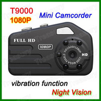 Wholesale Smallest Full HD P T9000 Mini DV Camcorder Thumb DV Camera Vibration Function Night Vision Video Recorder