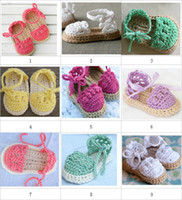 Slip-On baby slippers lot - Crochet baby sandals first walker shoes infant slippers tie pearl button M pairs cotton