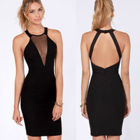 Wholesale Sexy Women Lady Black Cutout Cocktail Party Clubwear Halter Bodycon Trendy Dress