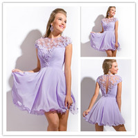 Wholesale Short sleeves Cheap Purple Homecoming Dresses Sheer Mini A Line Crew neck flower custom made dress yk G501S