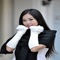 Wholesale New Arrival Fashion Winter Warm Rabbit Fur Long Arm Fingerless Gloves for Female Custom made is welcomed