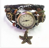 Wholesale 5 piece hot Leather Belt Lady s Twine bronze dial Kid s Antique rope Children s Watches Luxury sport Women s Watches Quartz Wristwatches