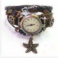 Wholesale good5 piece hot Leather Belt Lady s Twine bronze dial Kid s Antique rope Children s Watches Luxury sport Women s Watches Quartz Wristwatches