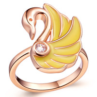 Wholesale Charming Swan Design K Gold Plated Diamond Women Ring With Austria Crystal J338