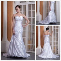 Appliques Satin Model Pictures Hot Sale! New Sexy Mermaid Sweetheart Plus Size Wedding Dresses Stretch Satin Embroidery Mermaid Wedding Dress
