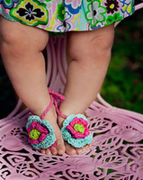 Crochet baby shoes girl thongs sandals colorful flower slipp...