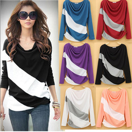 Wholesale Girl Women Fashion Batwing Long sleeved Blouse Cotton Tops Striped Patchwork Long Sleeve Heaps Collar Neck Tops for Women Lady girl