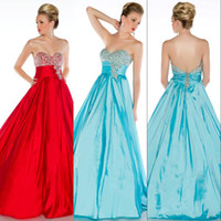 Reference Images A-Line Sexy Buy One Get One Free 2014 Fall Full Length Sweet-heart Ruffled Aqua Beaded Corset Taffeta Prom Dresses Pageant Gown